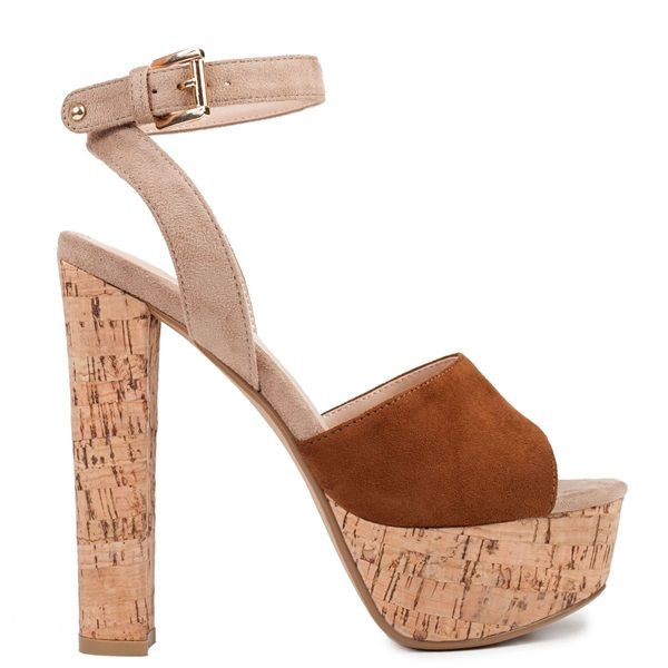 Brown-Beige high-heel sandal with suede texture and platform. Features high-heel covered with imitation cork. Fastens with adjustable ankle strap.