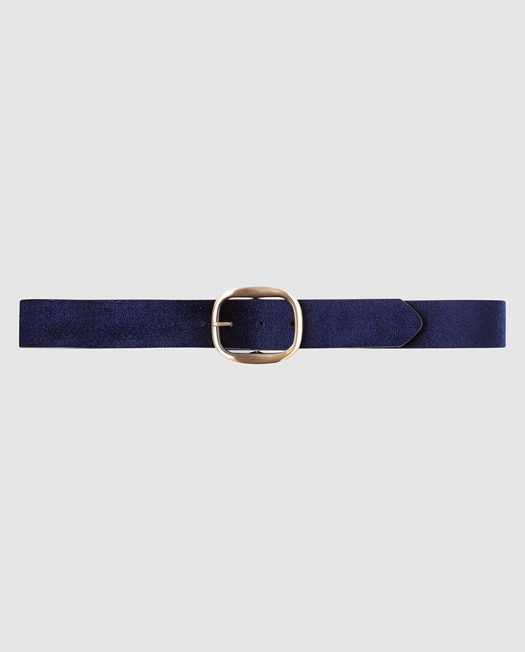 'Women's Belt' · 'Cinturón' de Mujer de terciopelo azul -de JO & MR. JOE- | Cinturón de terciopelo en color azul marino con hebilla cuadrada metálica en color dorado || El Corte Inglés