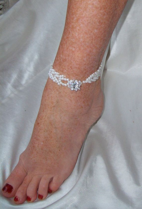 Wedding Beach Bridal Foot Jewelry Double St. Petersburg Stitch Beaded Anklet/Bracelet BA1