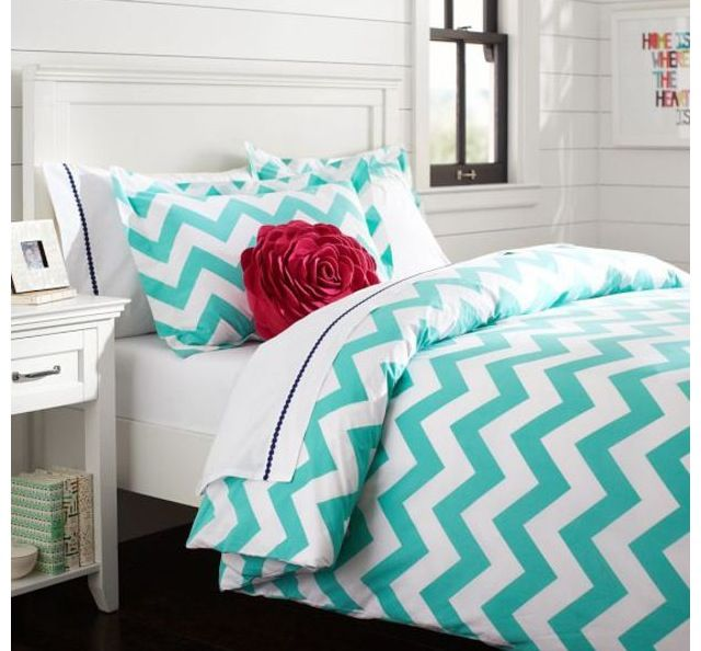 Pb Teen Turquoise Chevron Bedding Dorm Pinterest Chevron Bedding