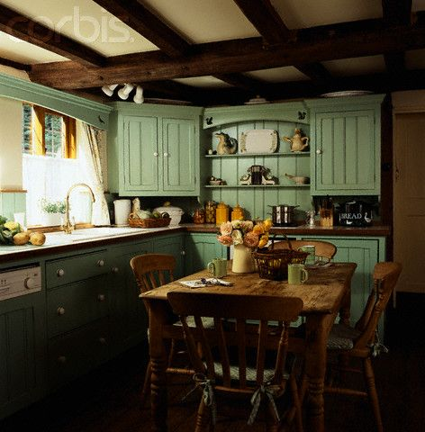 Green Cabinets In Country Cottage Kitchen Maybe Just Lower With Something Lighter
