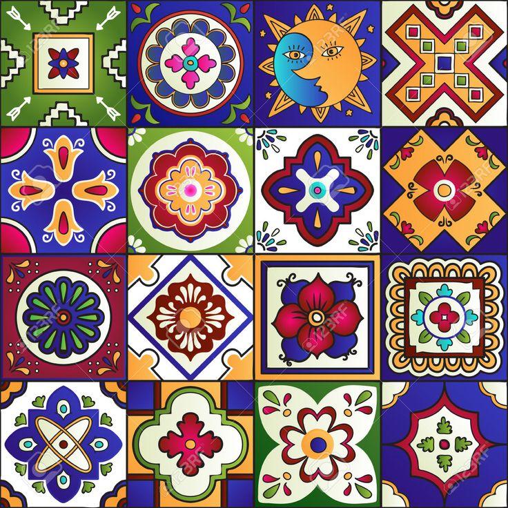 51405632-Talavera-set-of-16-mexican-tiles-Seamless-pattern-Stock-Vector-mexico-tiles-tile.jpg (1300×1300)