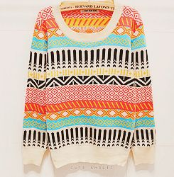 Colorful, patterned sweater