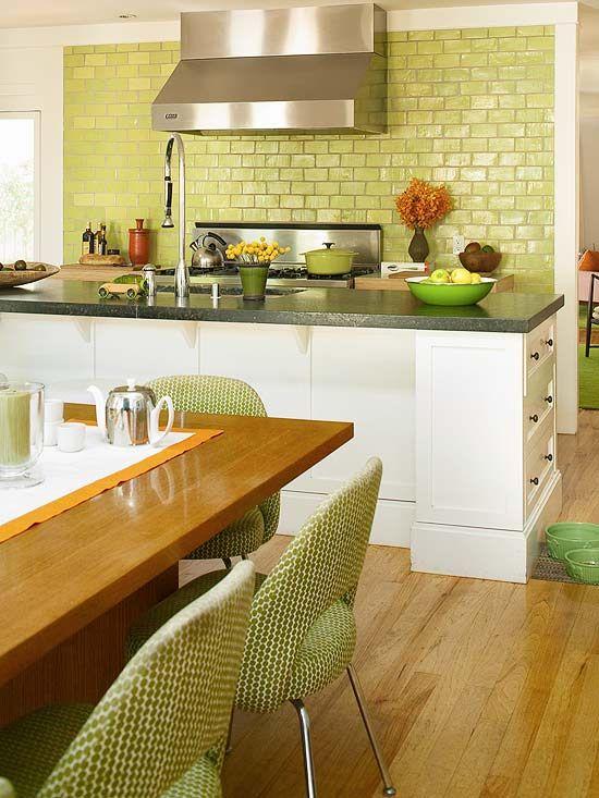 chunky baseboard around bar: Green Tile, Kitchens Design, Kitchens Colors, Green Subway Tile, Kitchens Tile, Keys Limes, Green Kitchens, Limes Green, Open Kitchens