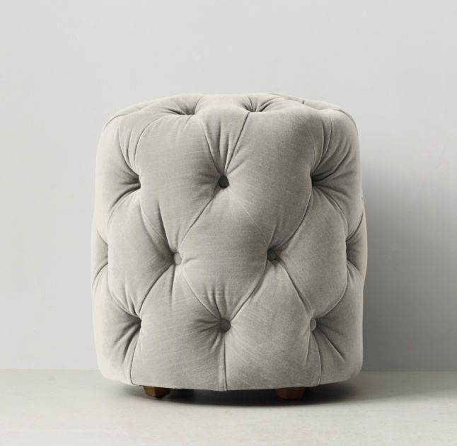 RH TEEN's Simone Tufted Velvet Stool:Recalling 19th-century French designs, our stool is generously padded with plush cushioning for comfortable seating and embellished with elegant deep tufting.