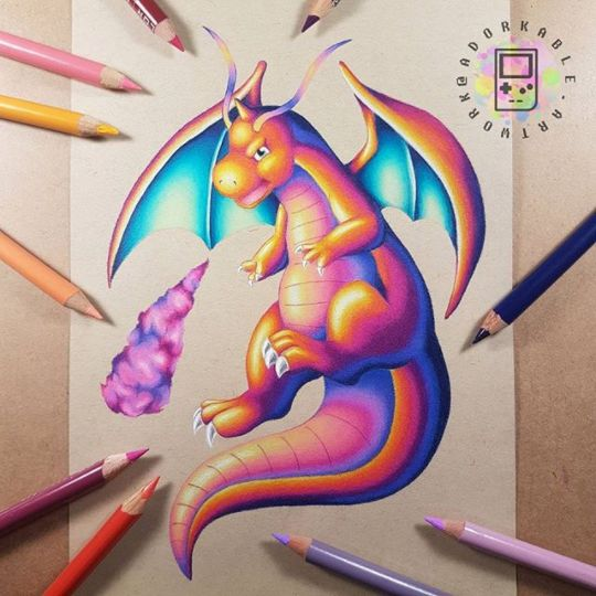 Dragonite Art - Signed Print - Pokemon Art, Pokemon, Geek Art, Geek Decor, Pokemon Drawings, Pokemon Gift, Pokemon Print, Pokemon Decor