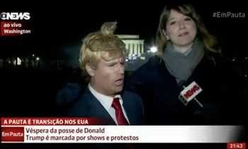Humorista do 'Pânico na Band' engana repórter da Globo News ao vivo