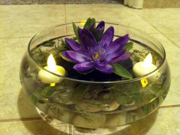 My Water Lily Centerpieces (pics) :  wedding centerpieces disney diy princess and the frog silk flowers water lily Centerpiece