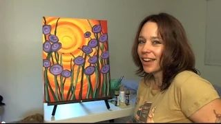how to paint flowers with acrylics for beginners - YouTube
