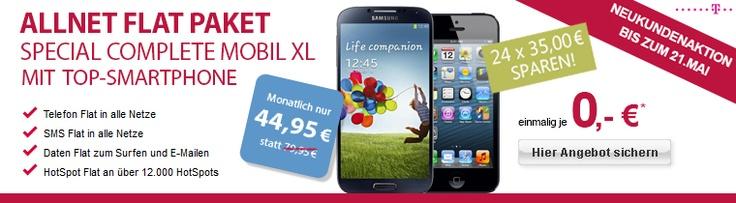 Neue Woche, neue Angebote: Galaxy S4 oder iPhone 5 ohne Zuzahlung im Telekom Special Complete Mobil XL Tarif