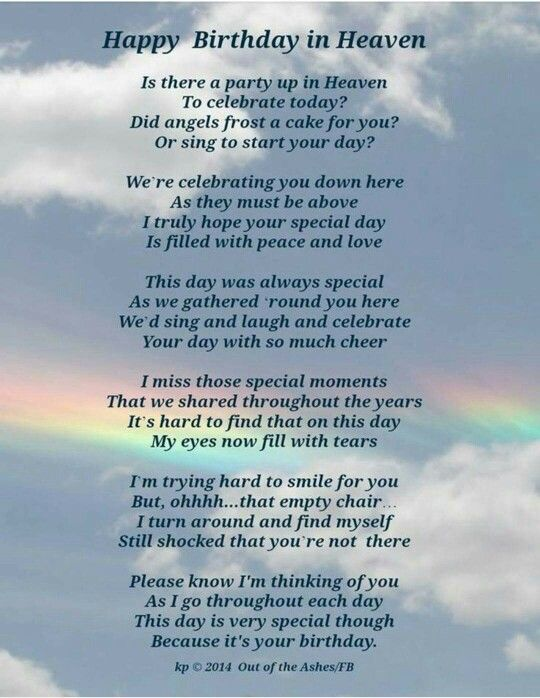 Happy Happy Birthday in heaven | grieving poetry ...