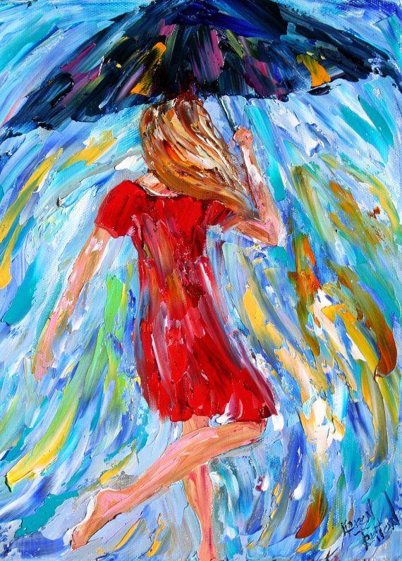 Original oil painting umbrella rain dance modern by karensfineart