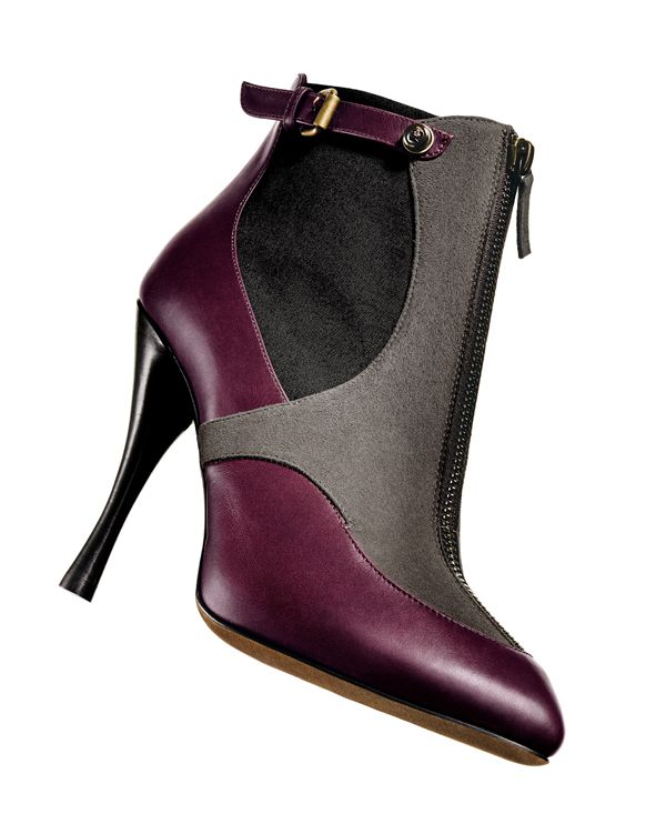 """TABITHA SIMMONS  Burgundy leather/taupe suede/black canvas """"elisa"""" front-zip bootie"""