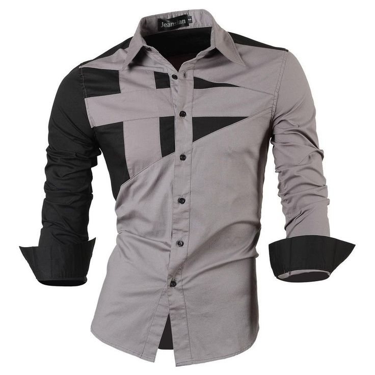 6858e9eb8 Long Sleeve Men Double color stitching Design Shirt Man Dress shirt |  Clothes in 2019 | Fitted dress shirts, Men dress, Slim fit dress shirts
