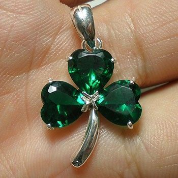 Irish Green Silver Shamrock Necklace - Three Leaf Clover Necklace- March Gift Guide Trend