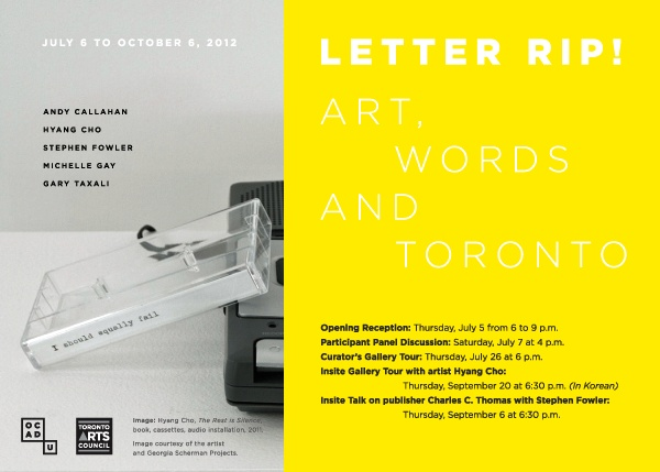 Letter Rip! Art, Words and Toronto