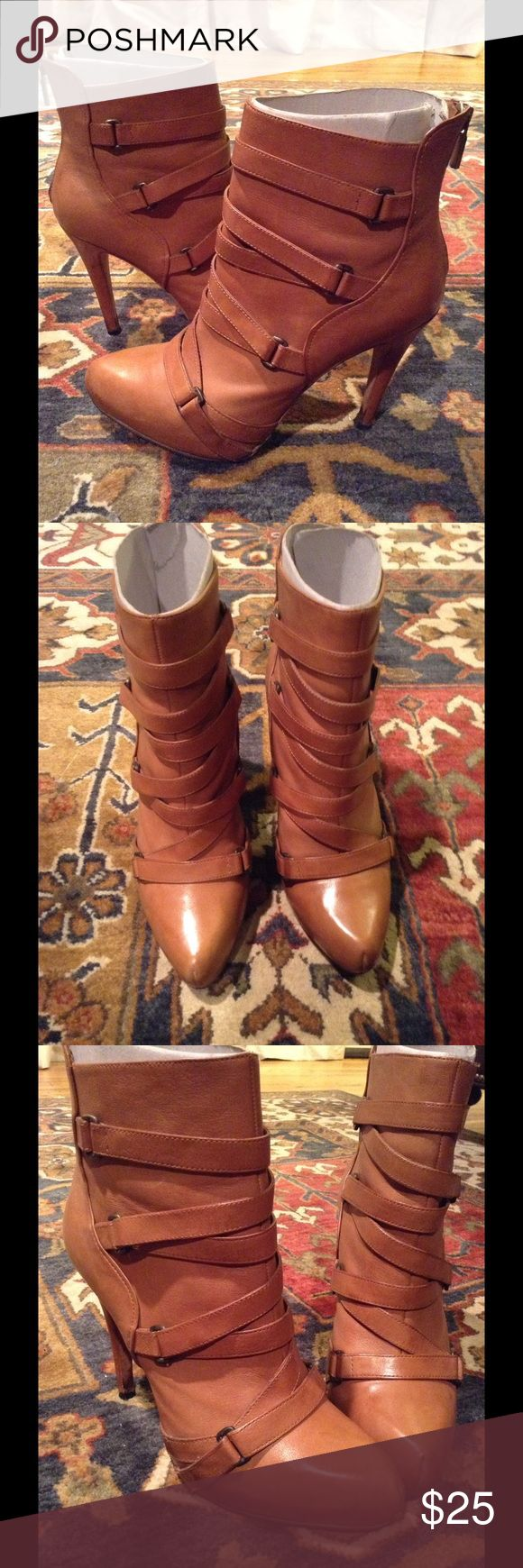Boutique 9 ankle Boots w/ Strap detail, cognac ❤️ Ankle Boots w/ strap detail, hidden platform, 4 1/2 inch heel. Fits me good and My shoe size is an 8 1/2. These booties have been resoled and Heel caps have been replaced! Pre-Loved... Great Condition!! 😍❤️😍 Boutique 9 Shoes Ankle Boots & Booties