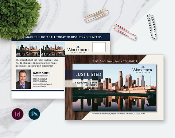 8 5 X 5 5 Photoshop Template Indesign Real Estate Postcard Template Real Estate Marketing Templat Real Estate Postcards Postcard Template Marketing Template