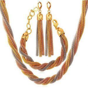 schmuckset|gold|tricolor|rose|geschlungen|schlange|ohrringe|halskette|armband|groß|xxl|lang|orientalisch|arabisch|echtschmuck|gold|echtgold