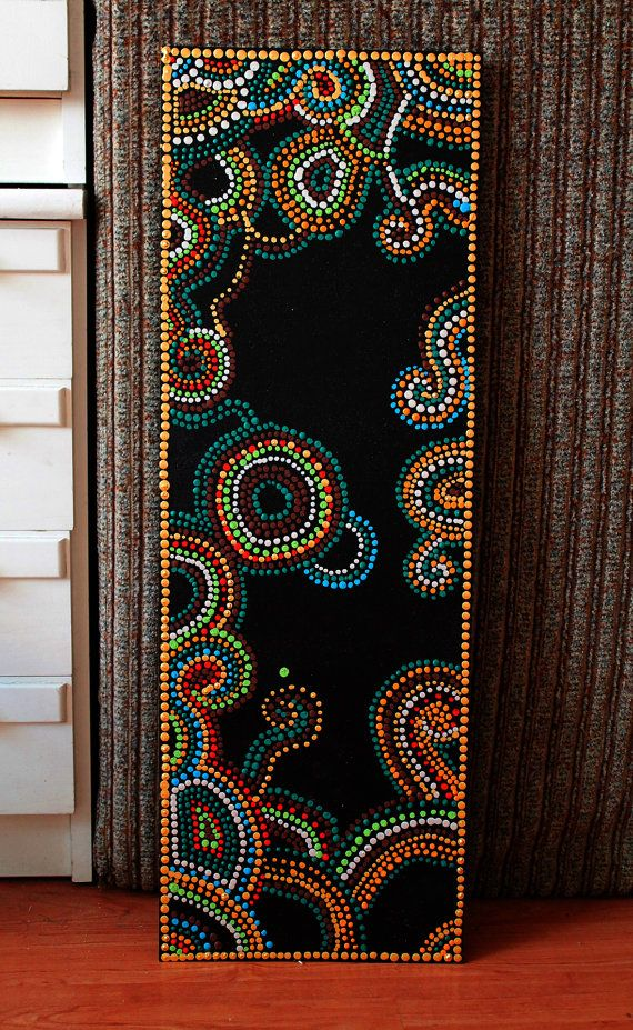 Painting dots hippie boho colorful painting handmade beaverboard 73,5x25cm