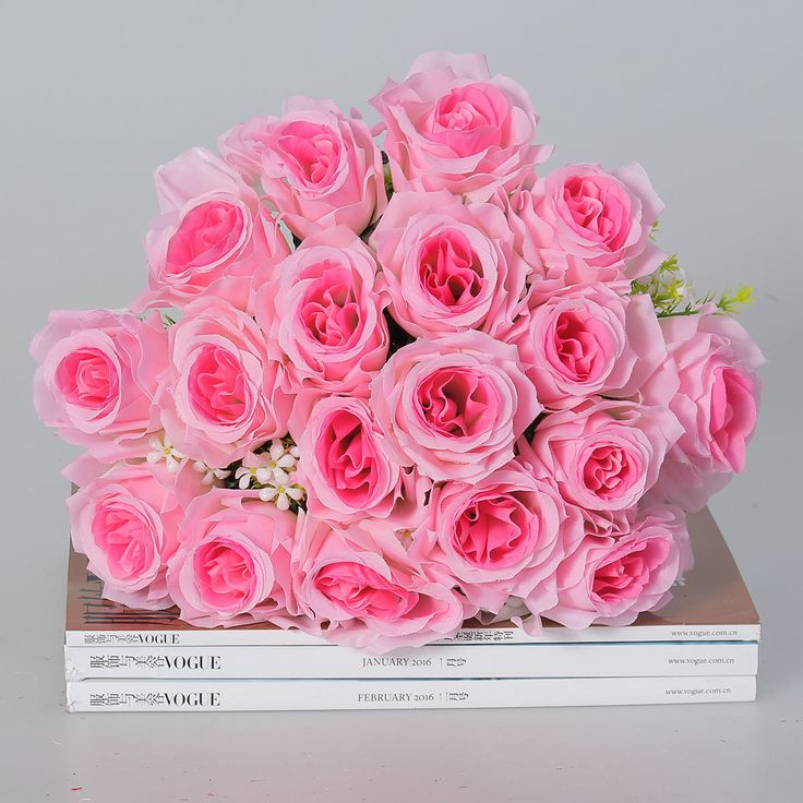 18 Heads Artificial Silk Rose Flowers Wedding Bride Bonquet Home Bedroom Decoration