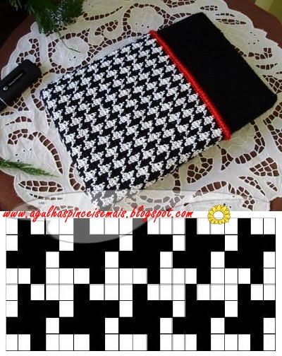 Concluí meu croche tapestry com o padrão pied de poulet. Fiz uma capinha para meu netbook, ficou linda. Só consegui fazer o padrão em ...