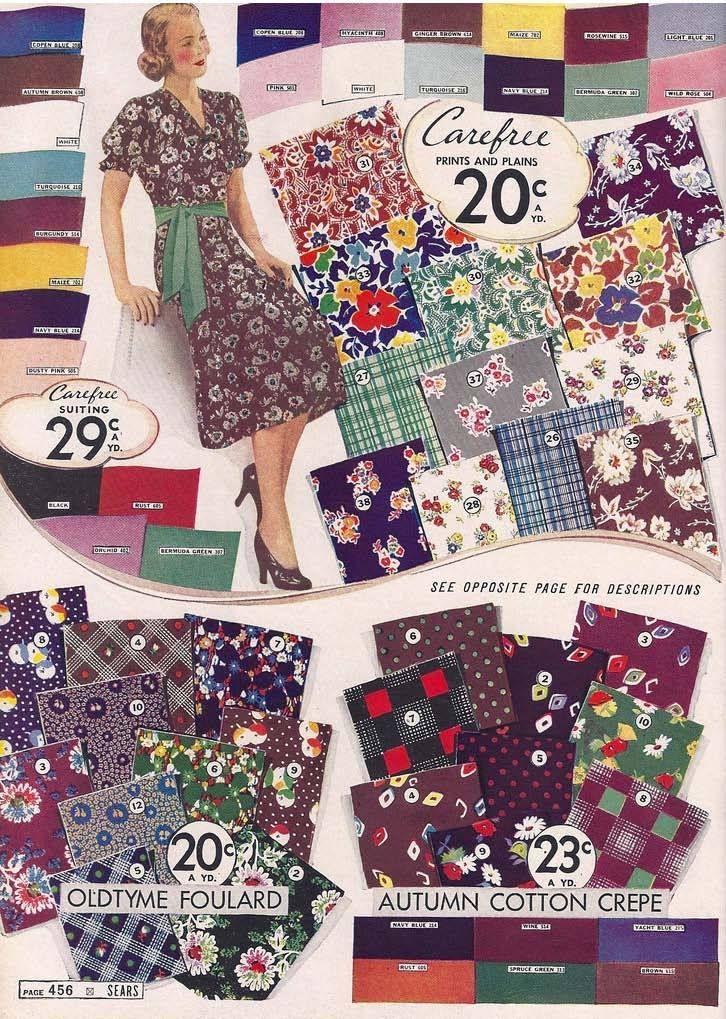 1930sfashion Vintage Fabric Prints Vintage Dress Patterns Fashion Fabric