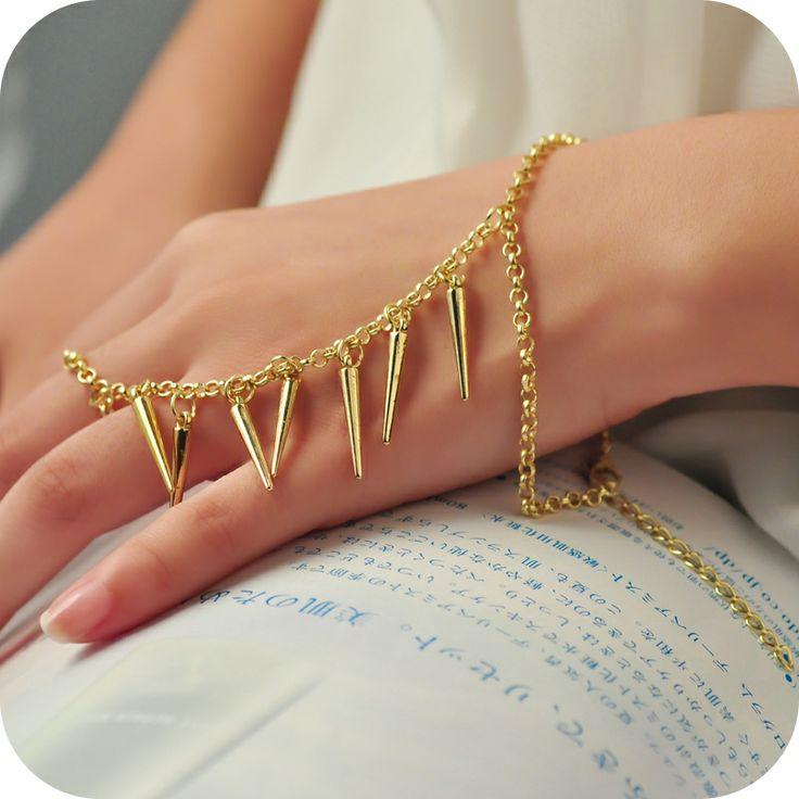Bransoletka z pierścionkiem na łańcuszku