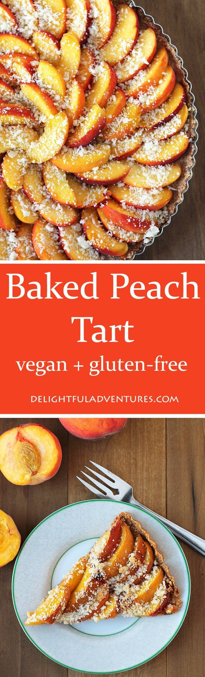 This light and not too sweet vegan, gluten-free baked peach tart is the perfect summer dessert to make and share with friends and family.