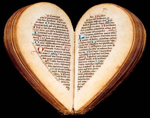 Heart shaped book of hours from the 15th century, Amiens, Picardy, France.  Original from Bibliothèque nationale de France      Ready or not, folks, Valentine's Day is coming for you.