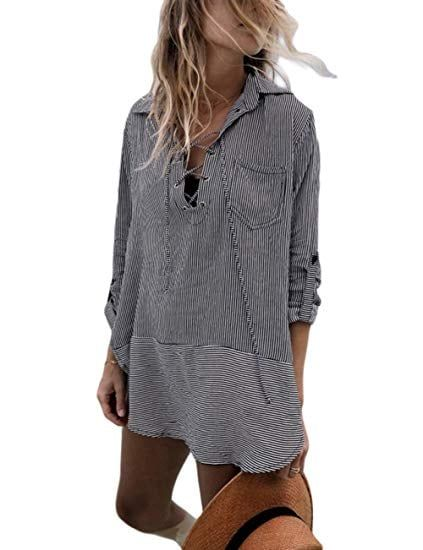 fcf7e58c3fc1c Bsubseach Women Embroidered Half/Long Sleeve Swimsuit Cover Up Mini Beach  Dress