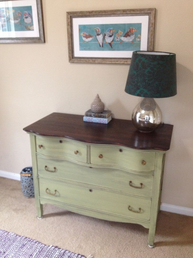 Olive Green Painted Dresser, With Wood Top To Tie In Head Board In Teagans  Room