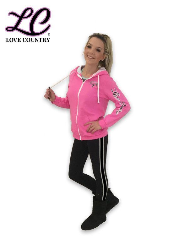 """Pink """"Love Country"""" Zip Up Hoodie"""
