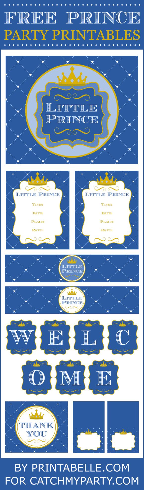 Free Little Prince party printables set from Printabelle for baby showers and first boy birthdays!