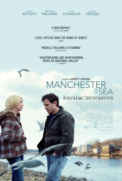 Manchester by The Sea is a 2016 drama film written and directed by Kenneth Lonergan and starring Casey Affleck, Michelle Williams, Kyle Chandler, and Lucas Hedges. The plot follows a man who looks after his teenage nephew after his brother dies. The film premiered at the Sundance Film Festival and was soon picked up by Amazon Studios for distribution. It began a limited release on Nov. 18, 2016, before going wide on Dec. 16, 2016, and grossed $72 million worldwide on an $8.5 million budget.