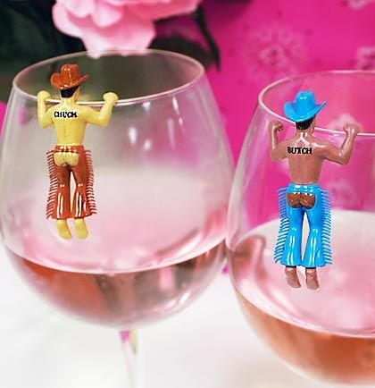 Country Western Bachelorette Party Ideas: Easily keep track of your drink with our Western Chaps drink markers! YEE HAW!
