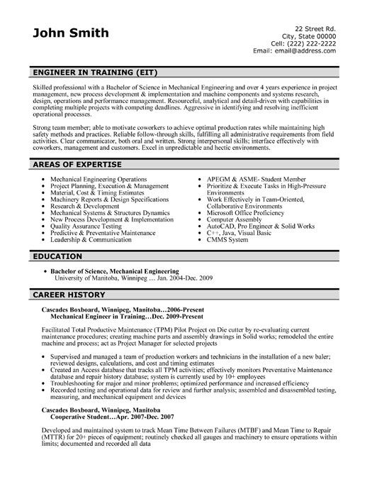 42 best Best Engineering Resume Templates \ Samples images on - mechanical engineering resume template