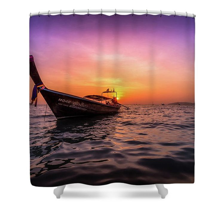 Sunset Shower Curtain featuring the photograph Longtail Sunset by Nicklas Gustafsson #sunset #beach #paradise #tropical #summer #longtail #ocean #sea #adventure #travel #wanderlust #thailand #landscape #showercurtain #bathroom #homedecor