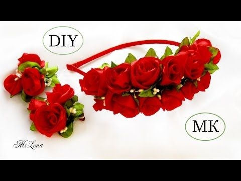Ободок с розами, МК / DIY Rose Headband / Rose tutorial / Роза канзаши - YouTube