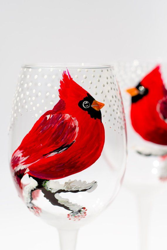 Cardinal Wine Glasses Set of Two Stemless Wine Glasses Wedding Gift Red Birds Christmas Glasses