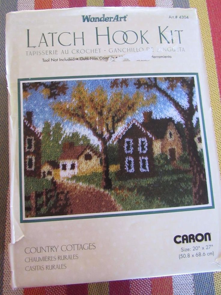 "UNUSED Vintage CARON 4304 Latch Hook Rug Kit 20x27"" COUNTRY COTTAGES 