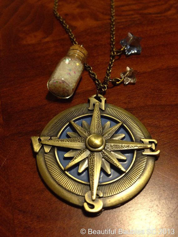 Peter Pan Neverland Inspired Necklace. The compass, the second star to the right and a bottle of pixie dust!  Cute Peter Pan necklace