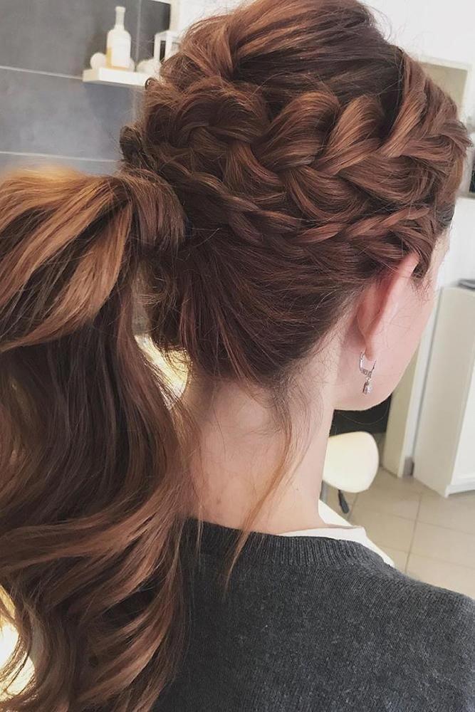 24 Pony Tail Hairstyles Wedding Party Perfect Ideas ❤ pony tail hairstyles high on red hair with braids lolashairbudapest #weddingforward #wedding #...