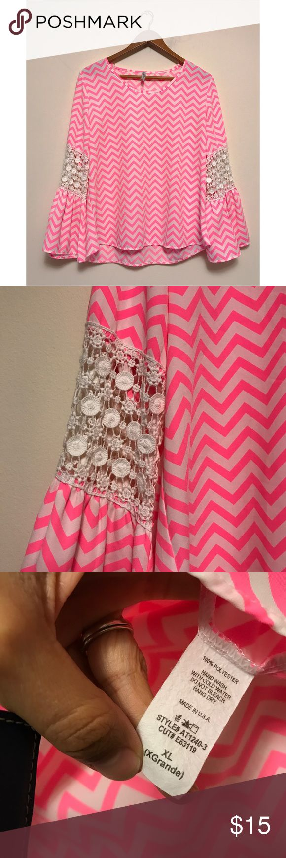 Pink Chevron Top with Crochet Sleeve Detail XL Really adorable long sleeve Chevron top, with crochet lace detail on the sleeves, and a bell sleeve finish. XL, excellent condition, worn once Yahada Tops