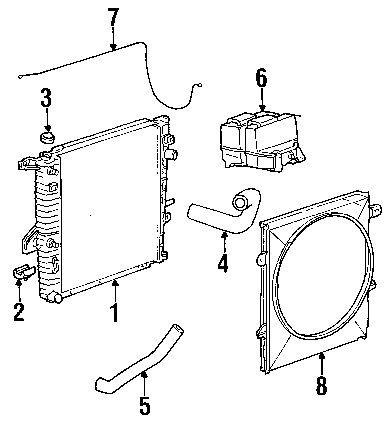 2002 FORD Explorer Sport Radiator & Components Diagram