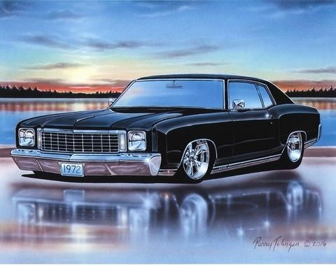 1972 Chevy Monte Carlo SS 454 Muscle Car Art Print Black 11x14 72