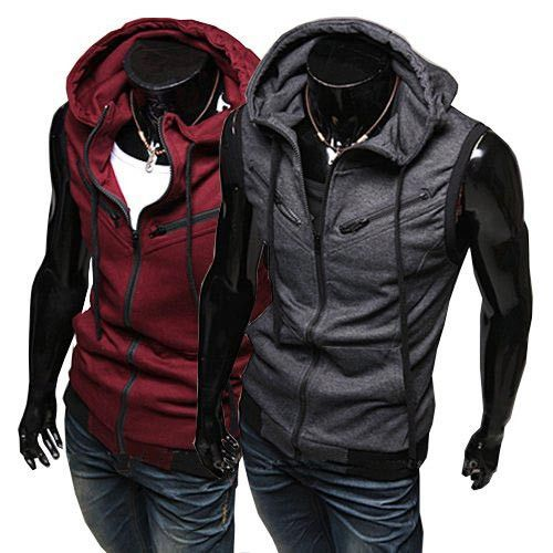 Men's Sleeveless Hoody Vest Fashion Cotton Top with T- shirt