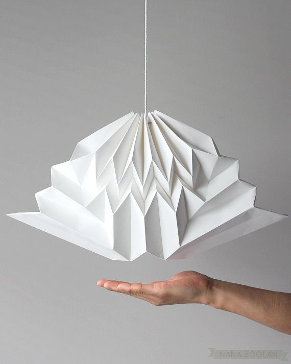 Cloud / White Origami Cloud Mobile / Geometric Paper Cloud Mobile / Hanging Handmade Home Decor / Spring