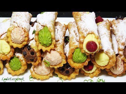 clip bánh rán Cannoli Ý итальянский десерт на сковороде трубочки с кремом Recipe hướng dẫn làm bánh - YouTube
