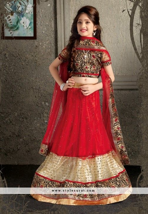 Mindblowing Red Color Net Fabric Girl's Party Wear Lehenga Choli